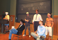 "[Students of Beginning Ukrainian presenting their play ""True Love"", August 8, 2003 ]"