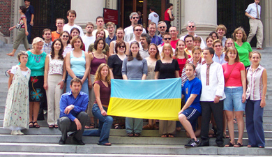 [The traditional photo of HUSI students, faculty and associates on the steps of Widener Library]